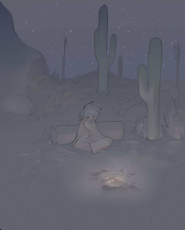 e926 anthro bedding blanket cactus detailed_background ears_down eyebrows eyelashes eyes_closed facial_markings female fireplace front_view full-length_portrait grass grey_theme hair kae_esrial log mammal markings mountain night on_ground outside portrait qualzar red_markings restricted_palette rock short_hair sitting sky solo star starry_sky tarunah wood