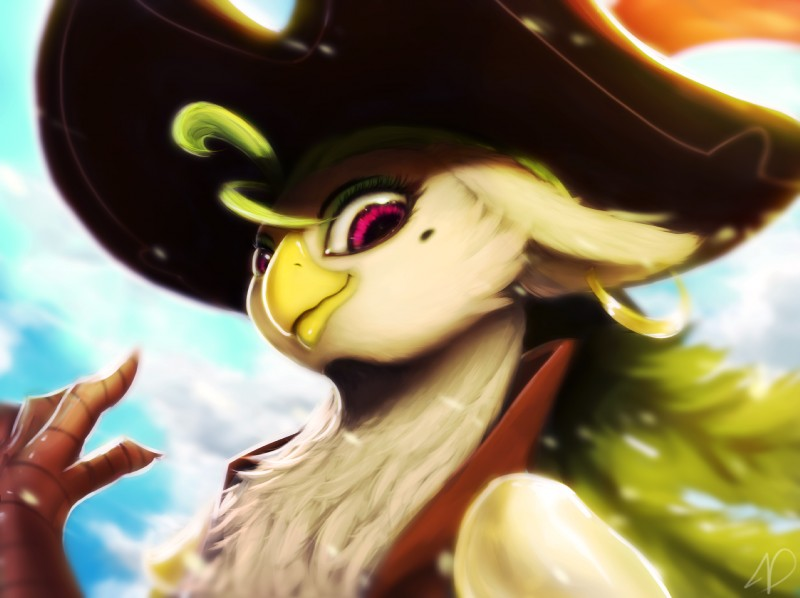 e926 2017 anthro avian beak bird blurred_background bust_portrait captain_celaeno_(mlp) close-up clothing cloud ear_piercing eyebrows eyelashes eyeshadow feathers female green_feathers green_hair hair hat hi_res looking_at_viewer makeup mole_(marking) moondreamer16 my_little_pony my_little_pony_the_movie parrot piercing pirate_hat portrait purple_eyes sky smile solo white_feathers