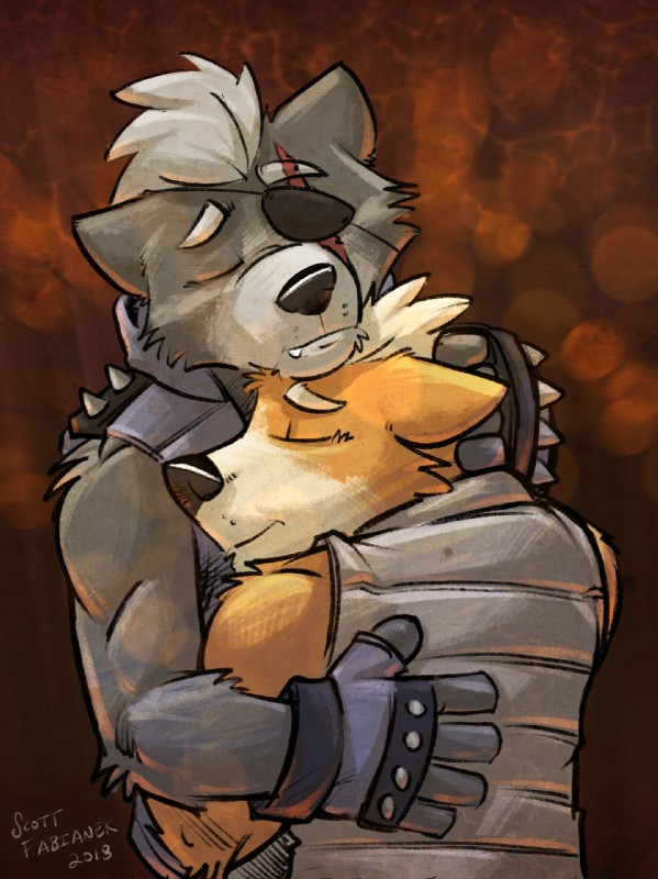 e926 anthro canine clothed clothing couple_(disambiguation) embrace fox fox_mccloud fully_clothed hug k-9 male male/male mammal nintendo size_difference star_fox video_games wolf wolf_o'donnell