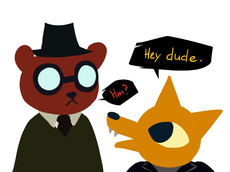 e926 4:3 angus_(nitw) anthro bear brown_fur canine dialogue extrasizedbob eyewear fangs fox fur glasses gregg_(nitw) hat male mammal night_in_the_woods simple_background white_background yellow_fur