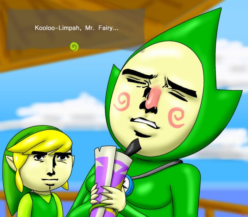 e926 2016 blonde_hair bodysuit chameloshi clothing duo english_text eyes_closed facial_hair goatee green_headwear hair hat hi_res holding_object humanoid hylian link male meme moobs nintendo not_furry pointy_ears red_nose skinsuit text the_legend_of_zelda tight_clothing tingle toon_link video_games wind_waker yaranaika