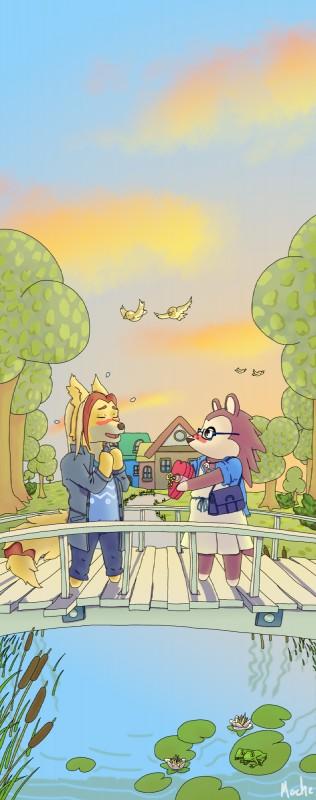e926 animal_crossing canine dodger_akame hedgehog mammal moche nintendo sable_able utau video_games wolf