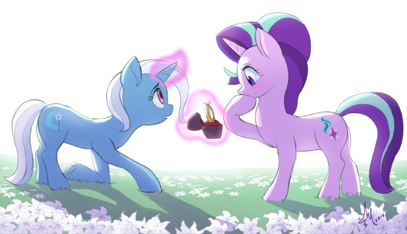 e926 2018 blue_hair blush cute cutie_mark duo equine eyebrows eyelashes female female/female feral field flower friendship_is_magic hair holding_object holidays horn kneeling levitation love magic mammal multicolored_hair my_little_pony nude open_mouth outside plant proposal purple_eyes purple_hair raikoh-illust ring shadow side_view standing starlight_glimmer_(mlp) trixie_(mlp) two_tone_hair unicorn valentine's_day wedding_ring