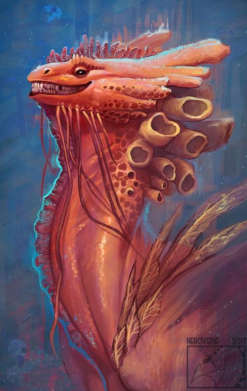 e926 2017 ambiguous_gender digital_media_(artwork) digital_painting_(artwork) dragon feral headshot_portrait neboveria portrait smile solo teeth underwater water