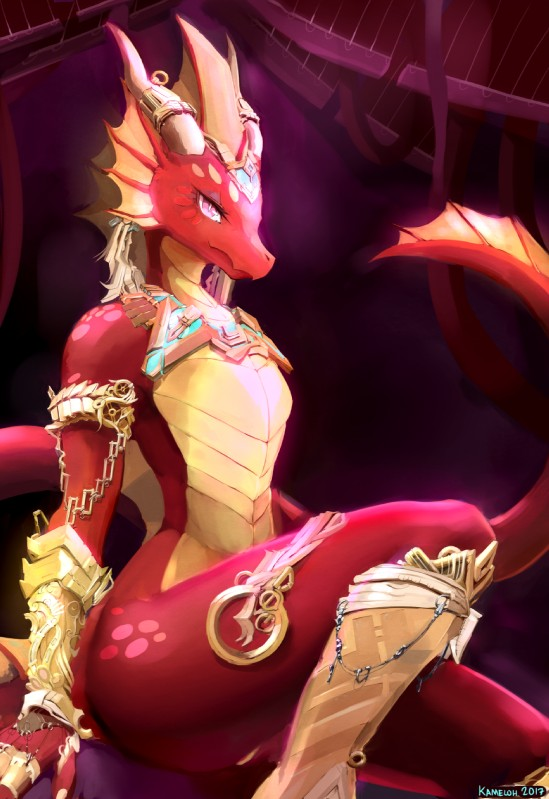 e926 2017 ambiguous_gender anthro detailed_background dragon eyelashes hi_res horn jewelry kameloh looking_at_viewer nude pink_eyes pyrexia red_scales scales scalie sitting slit_pupils smile solo spines wide_hips