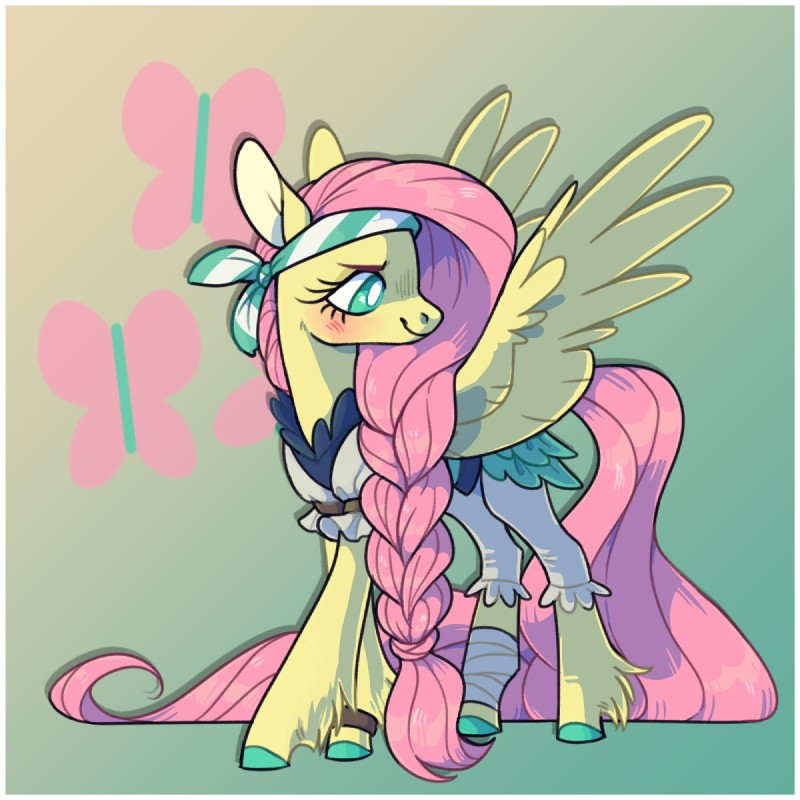 e926 2018 8xenon8_(artist) bandage bandanna blush braided_hair clothing costume digital_media_(artwork) equine eyebrows eyelashes feathered_wings feathers female feral fluttershy_(mlp) friendship_is_magic green_eyes hair horse long_hair mammal my_little_pony pegasus pink_hair pirate pony simple_background smile solo wings