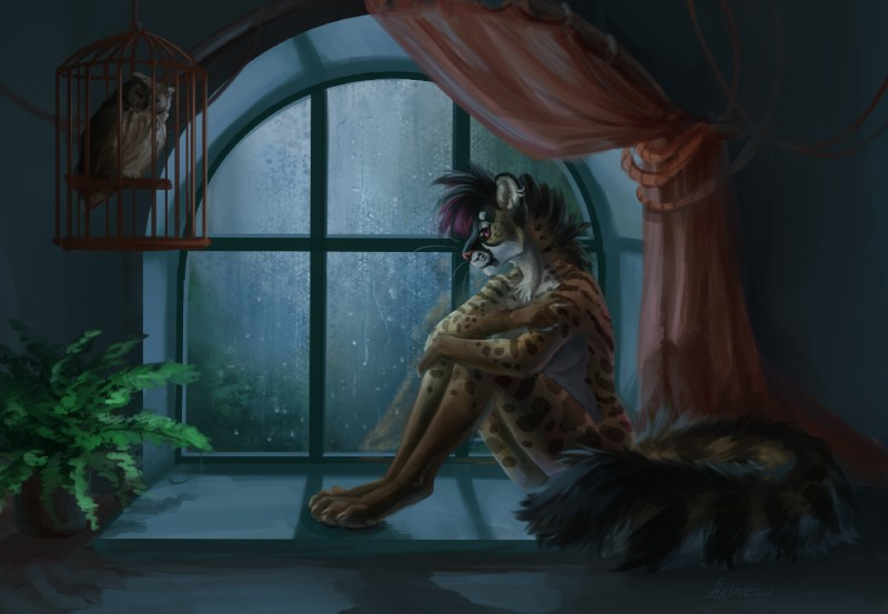 e926 2018 akineza alyxis anthro avian bird bird_cage black_hair breasts digital_media_(artwork) digitigrade duo feline female feral hair inside mammal nude owl purple_eyes raining serval sitting sleeping window