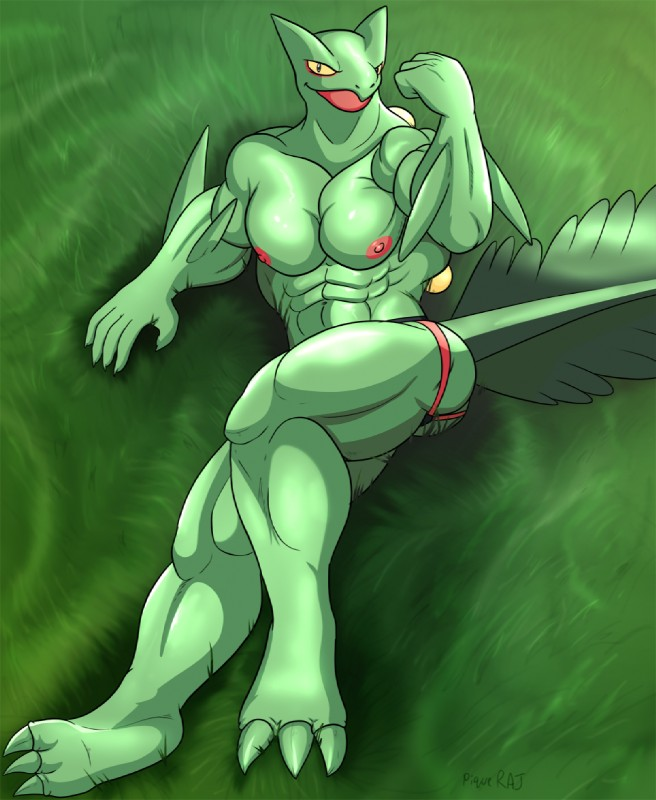 e926 3_toes 5_fingers abs anthro claws flexing green_skin looking_at_viewer lying male muscular muscular_male nintendo nipples piqueraj pokémon pokémon_(species) pokémorph sceptile signature solo toe_claws toes video_games yellow_sclera