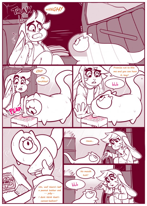 e926 1_eye 2017 anthro comic cute dulce_(character) duo english_text food goo_creature junkyard lagomorph mammal monochrome mr.pink pink_theme pwink rabbit sandwich_(food) text