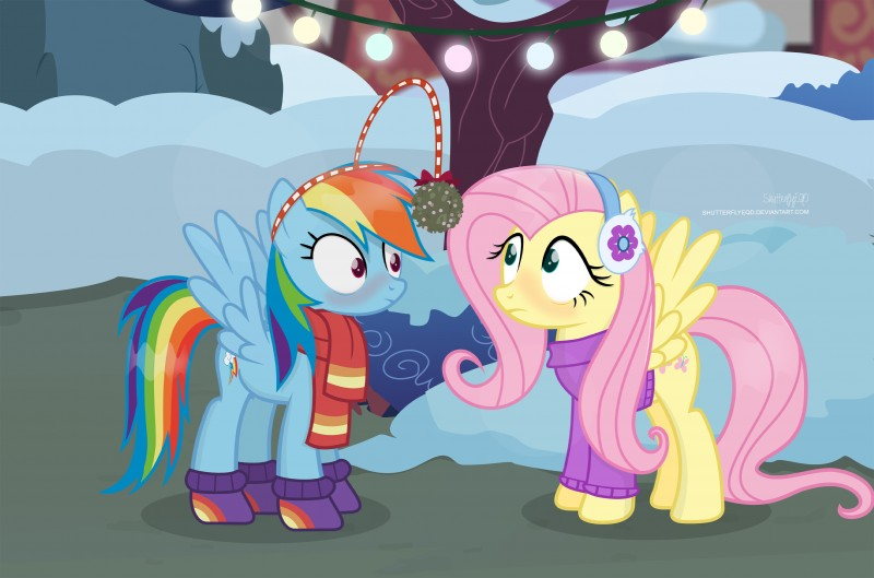 e926 2017 absurd_res blush christmas christmas_lights clothing cutie_mark duo earmuffs equine eyelashes female fluttershy_(mlp) friendship_is_magic frown hair hi_res holidays lights long_hair makeup mammal mascara mistletoe mittens multicolored_hair my_little_pony outside pegasus pink_hair plant purple_eyes rainbow_dash_(mlp) rainbow_hair scarf shrub shutterflyeqd snow spread_wings sweater teal_eyes tree wings winter