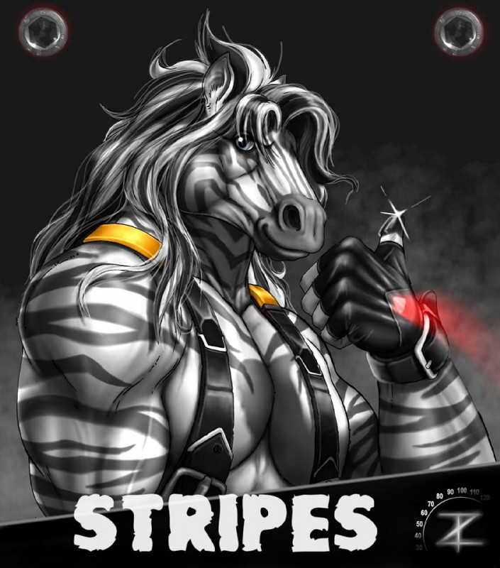 e926 2012 5_fingers abs anthro biceps biped black_background black_hair bust_portrait character_name clothing digital_media_(artwork) equine fingerless_gloves front_view fur gloves grey_eyes grey_fur grey_stripes hair long_hair looking_at_viewer male mammal multicolored_fur multicolored_hair muscular muscular_male name_badge pecs portrait simple_background snout solo steam striped_fur stripes stripes_(character) suspenders thumbs_up triceps two_tone_fur two_tone_hair vein white_fur white_hair zebra zorro_re