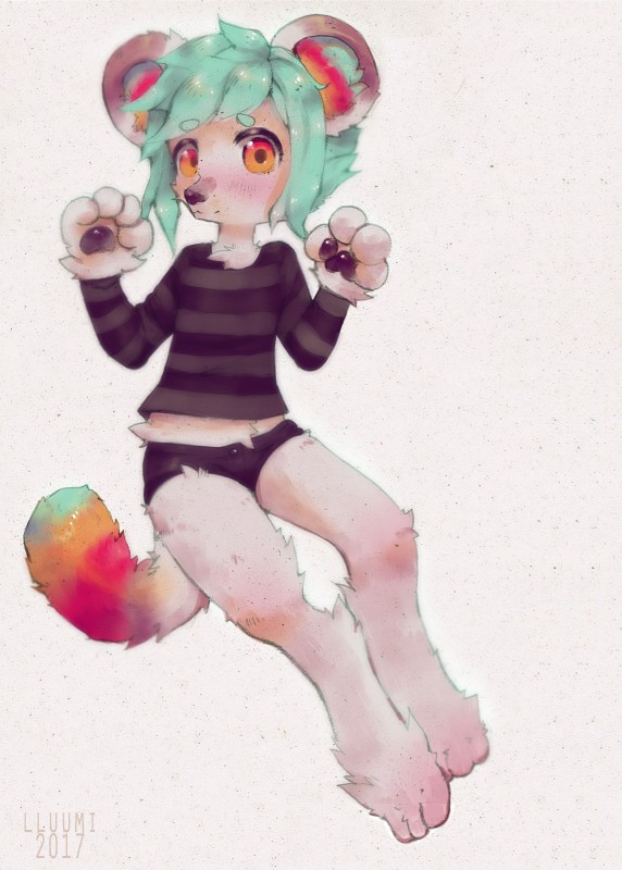 e926 big_feet clothed clothing colored_hair fluffy fluffy_tail hi_res kemono lluumi paws solo striped_shirt unknown_species young