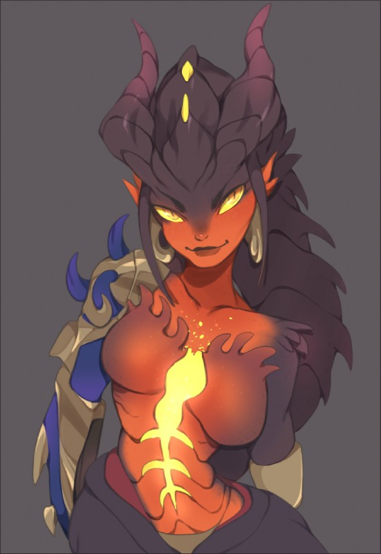 e926 animal_humanoid breasts dragon dragon_humanoid female grey_background horn humanoid orange_eyes overwatch punipaws simple_background smile solo symmetra_(overwatch) video_games wide_hips yellow_sclera