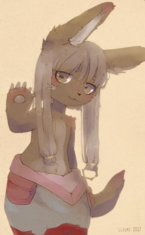 e926 brown_fur digital_drawing_(artwork) digital_media_(artwork) fur hollow_(species) horizontal_pupils kemono lagomorph lluumi made_in_abyss mammal nanachi paws rabbit smile solo waving