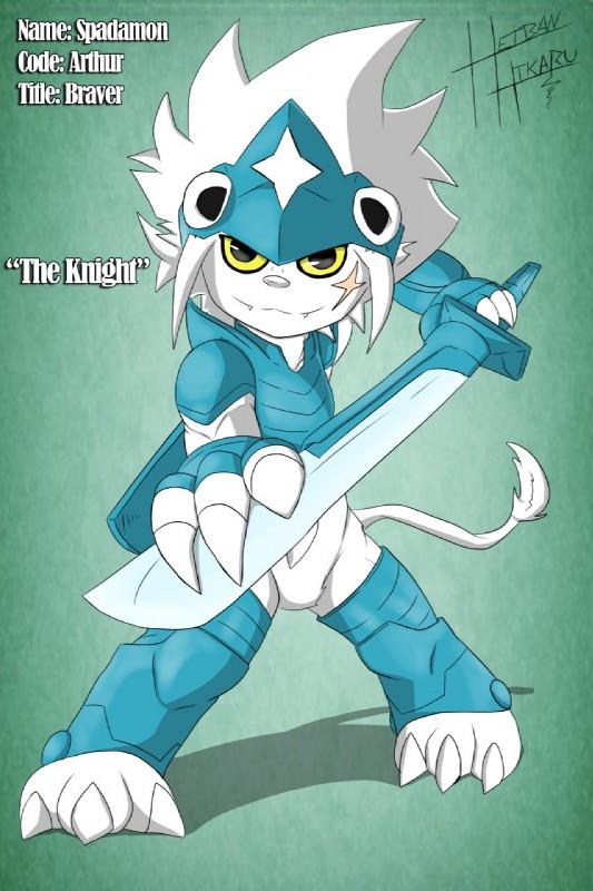 e926 ambiguous_gender arthur_the_spadamon digimon fan_character feline green_background heibanhikaru lion mammal melee_weapon scar simple_background spadamon sword weapon