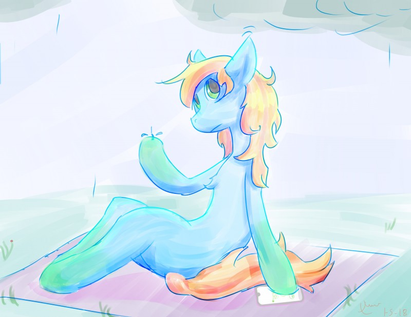 e926 2018 absurd_res anthro anthrofied cellphone digital_drawing_(artwork) digital_media_(artwork) earth_pony equine fan_character female hair hi_res horse mammal multicolored_hair my_little_pony phone pony raining simple_background sitting solo two_tone_hair xerawraps