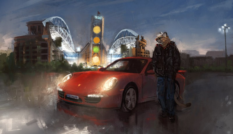 e926 blue_eyes building car centurylink_field city clothed clothing cougar detailed_background ear_piercing feline fur hair jacket looking_away male mammal night outside pants parking_lot piercing pink_nose porsche porsche_911 racoonwolf raining seattle_(city) shirt solo tan_fur vehicle white_hair
