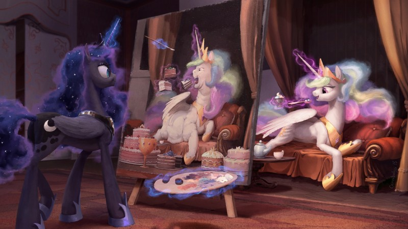 e926 16:9 2015 blue_eyes cake cannibalus cup cushion cutie_mark dessert detailed_background duo equine feathered_wings feathers female feral food friendship_is_magic glowing hair hi_res horn ice_cream inside levitation long_hair lying magic mammal multicolored_hair my_little_pony obese open_mouth overweight paintbrush painting princess_celestia_(mlp) princess_luna_(mlp) sibling sisters smile sofa sparkles spoon tea_cup teapot tongue wallpaper winged_unicorn wings