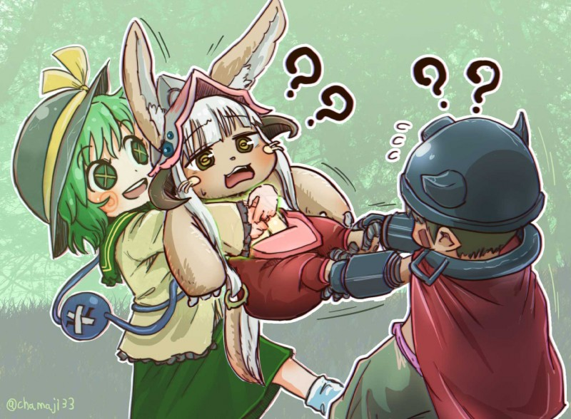 e926 ? ambiguous_gender anthro blush brown_fur chamaji_(artist) clothed clothing female fur green_eyes green_hair hair hollow_(species) humanoid komeiji_koishi lagomorph machine made_in_abyss male mammal nanachi open_mouth rabbit regu ribbons robot topless touhou whiskers white_hair x_eyes yellow_eyes young