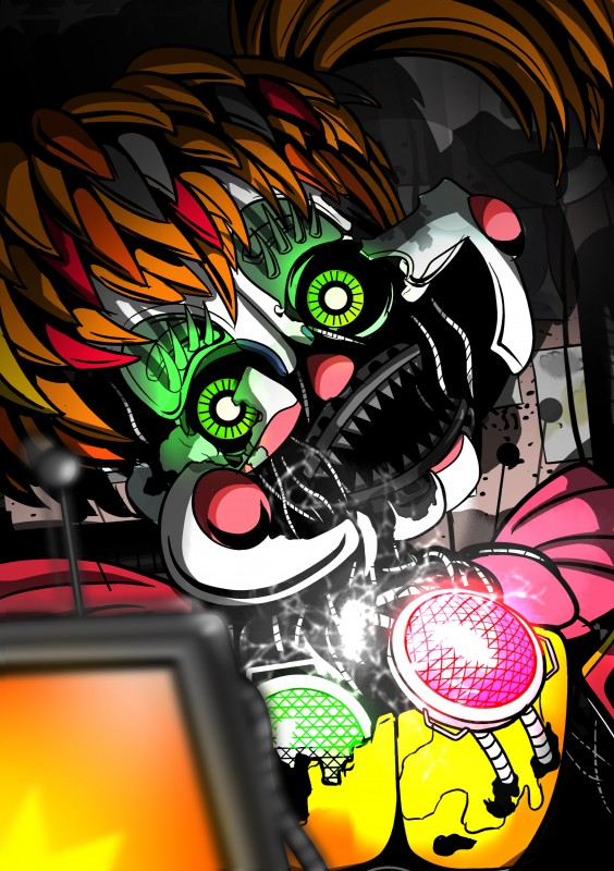 e926 2018 absurd_res animatronic creepy digital_media_(artwork) female five_nights_at_freddy's freddy_fazbear's_pizzeria_simulator glowing glowing_eyes hi_res humanoid looking_at_viewer machine not_furry robot scrap_baby_(fnaf) shu_20625 simple_background video_games