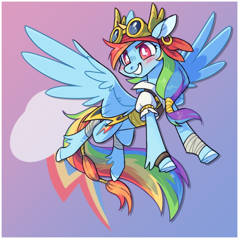 e926 2018 8xenon8_(artist) bandage bandanna belt blue_feathers blush clothing coat costume cutie_mark digital_media_(artwork) equine eyebrows eyewear feathered_wings feathers female feral friendship_is_magic goggles hair happy hooves horse mammal multicolored_hair multicolored_tail my_little_pony open_mouth pegasus piercing pirate pony rainbow_dash_(mlp) rainbow_hair rainbow_tail red_eyes simple_background smile solo teeth underhoof wings