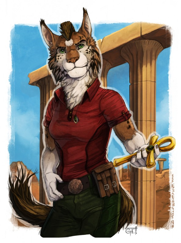 e926 ankh anthro belt belt_pack brown_fur c.t.elder chest_tuft clothed clothing colby_(sf) day equine feline female fur green_eyes horse hybrid jewelry looking_at_viewer lynx mammal mane necklace outside pendant ruins semper_fidelis sky solo standing tuft white_fur