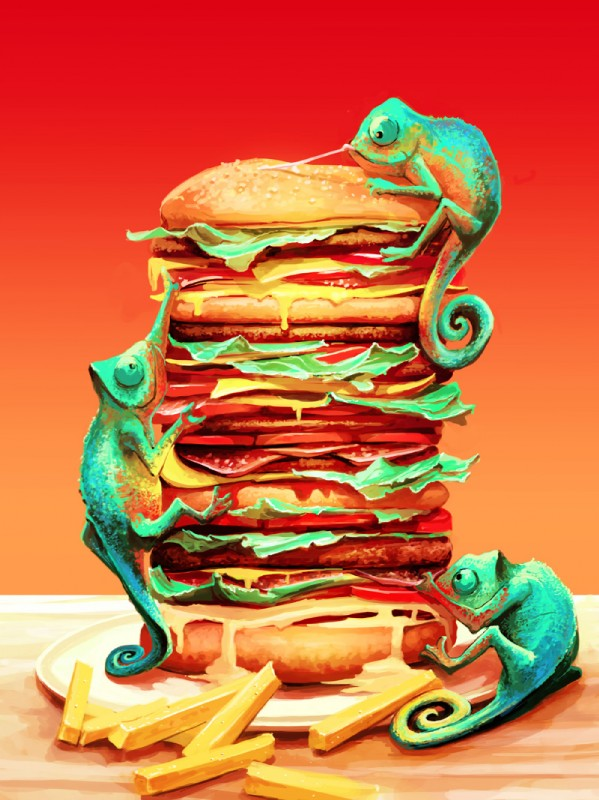 e926 ambiguous_gender aquasixio chameleon digital_media_(artwork) food gradient_background group lizard reptile sandwich_(food) scalie simple_background